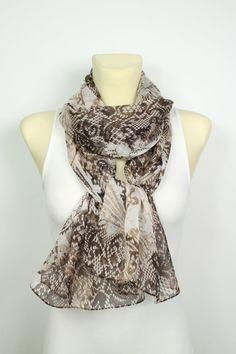 Brown Snake Scarf - Silk Fashion Scarf - Animal Print Scarf - Unique Fabric Scarf - Women Fashion Accessories - Gift Idea for Woman - Autumn