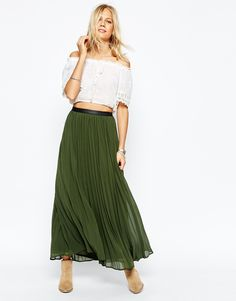Image 1 ofAbercrombie & Fitch Pleat Maxi Skirt With Leather Look Waist Detail