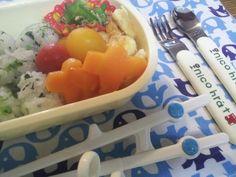 For my son. 青菜おにぎり、ささ身ピカタ、絹さやのじゃこ炒め、にんじんグラッセ、プチトマト
