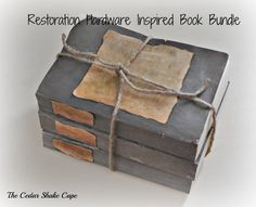 diy restoration hardware inspired book bundle, crafts, how to, repurposing upcycling I love Restoration Hardware, but their prices are way beyond my budget! I created a Martha Stewart Chalk Paint, Knock Off Decor, Painted Books, Down South, Book Crafts, Paper Crafts, Diy Crafts, Vintage Books, Restoration Hardware