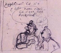Hergé, crayonnes pour le projet de Tintin et le Thermozero 1960
