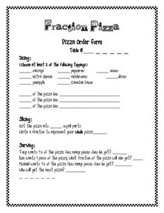 This fraction activity will help students understand fractions as part of a whole. Students can make their own pizza after completing this actvity....