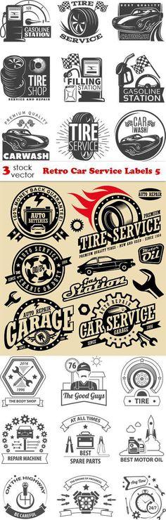 Vectors - Retro Car Service Labels 5