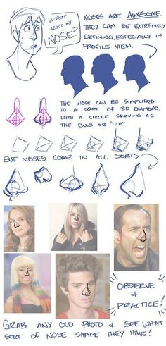 How to Draw: Eyes, Nose, Lips, Brows This is totally helpful for drawing the… Drawing Techniques, Drawing Tips, Drawing Reference, Anatomy Reference, Drawing Poses, Doodle Drawing, Nose Drawing, Drawing Art, Anatomy Drawing