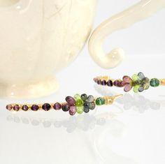 Multi gemstone dangle earrings 14k gold wire wrap by StudioAskew