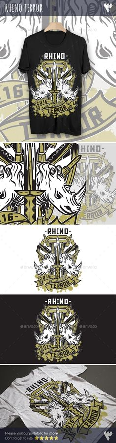 Rhino Terror — Vector EPS #battle #squad • Available here → https://graphicriver.net/item/rhino-terror/17960980?ref=pxcr