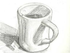Drawing Cup, Hatch Drawing, 3d Art Drawing, Shading Drawing, Pencil Sketch Drawing, Object Drawing, Pencil Art Drawings, Drawing Eyes, Sketchbook Drawings