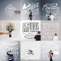 Love the hand type over the photos on clean backgrounds. Hand type by Noel Shiveley (hand lettering quotes fun) Typography Love, Typography Quotes, Typography Letters, Typography Inspiration, Graphic Design Inspiration, Graphic Design Quotes, Web Design, Font Design, Lettering Design