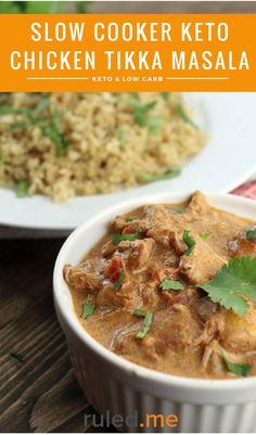 A keto slow cooker chicken tikka masala recipe. This is great for any low carb meal! #ketodiet #ketorecipes #ketogenicdiet