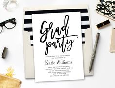 Printable Graduation Party Invitation BRUSHED with Bonus
