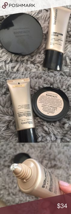 Bare Minerals Complexion Rescue Duo Bare Minerals complexion rescue in Vanilla, and bareskin perfecting veil in light to medium. Both brand new, full size! New without box Bare Escentuals Makeup Foundation