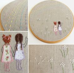 The best part about hand embroidery is always the little details!  French knots make great curls, and for the braids, I used a cross stitch.  The rainbow is a large running stitch and more french knots for the dandelions.  Do you see the lazy daisy stitched bows and the ends of the braids?  Details