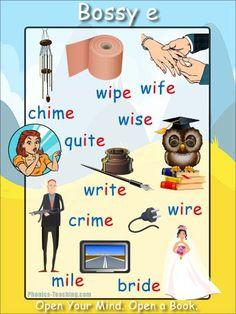 bossy e words - long i - FREE & Printable Phonics Poster