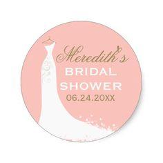 Bridal Shower Favor Sticker | Wedding Gown Round Sticker
