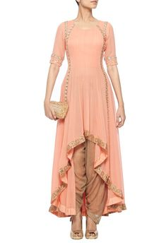 Coral high-low kurta with gold dhoti pants by Ridhima Bhasin - Shop at Aza Indian Gowns, Pakistani Dresses, Indian Designer Outfits, Indian Outfits, Frock Fashion, Fashion Dresses, Indian Party Wear, Kurti Designs Party Wear, Dress Indian Style