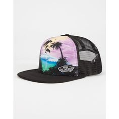 Vans Dolphin Beach Womens Trucker Hat ($20) ❤ liked on Polyvore featuring accessories, hats, black, truck caps, polyester hat, snapback trucker hats, trucker hat and beach hat
