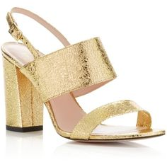 kate spade new york Irvine Cracked Metallic High Heel Sandals ($328) ❤ liked on Polyvore featuring shoes, sandals, gold, high heel shoes, kate spade shoes, metallic sandals, kate spade and kate spade sandals