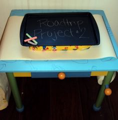 This DIY lap desk is awesome - it's magnetic and has a chalk board surface. I HATE that people have tvs in their cars now - we do not need to media sedate our children! Activities though - sign me up!