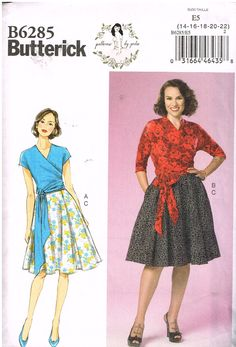 Size 14-16-18-20-22 Butterick Patterns B6483 E5 Misses Dresses with Mandarin Collar and Skirt Options by Gertie