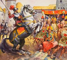 Spaniards learned that there was a very rich empire in gold, known as the Piru or Biru. Francisco Pizarro's conquest of Peru beginning in taking advantage of the civil war waged between the successors of the Inca, Atahualpa and Huascar brothers. Art And Illustration, Conquistador, Renaissance, Spanish Heritage, Aztec Culture, Aztec Warrior, Horse Art, Ancient History, South America