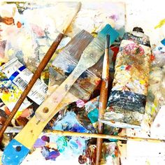I really should tidy up.  . . I like my studio organized I do - really.  However when working on a series and several canvases are in play it's like things just can't be organized everything is out.  It's part of the process I suppose.  #debbiemillerpainting