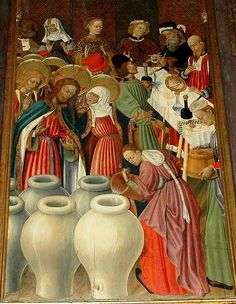 Marriage at Cana, in the Transfiguration altarpiece (Cathedral of Barcelona), by Bernat Martorell . 15th century.