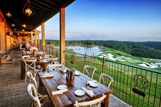 Enjoy sweeping views of the Ozarks as you dine at this restaurant that shares a property with a sprawling golf course and breathtaking chapel. Branson Missouri Restaurants, Big Cedar Lodge Branson, Branson Vacation, United States Travel, Outdoor Dining, Weekend Getaways, The Rock, Beautiful World, Places To Go