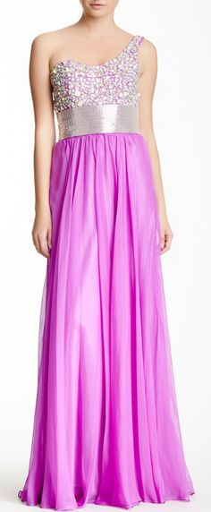 Jewel Embellished Beaded Gown