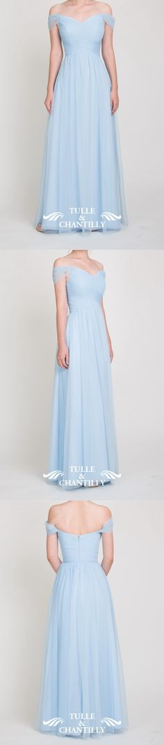 light sky blue off shoulder tulle bridesmaid dresses long