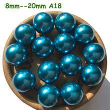 8 mm 10 mm 12 mm 14 mm 16 mm 18 mm 20 mm A18 Blue rodada acrílico contas espaçador de pérolas ABS pérolas soltas Chunky Gumball Beads(China (Mainland))