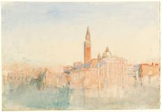 "Joseph Mallord William Turner, ""Velence: San Giorgio Maggiore Sunset, a Hotel Europa 1840 Joseph Mallord William Turner, Watercolor Pictures, Watercolor Landscape Paintings, Oil Paintings, Watercolor Sketchbook, Sketchbook Drawings, Turner Watercolors, Turner Painting, Really Cool Drawings"