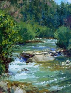 """Along the Rio Hondo"", oil Landscape Drawings, Landscape Photos, Landscape Art, Landscape Paintings, Beautiful Paintings Of Nature, Beautiful Landscapes, Watercolor Trees, Watercolor Landscape, Waterfall Paintings"