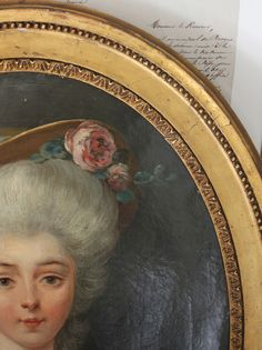 Trouvais 18th French portrait s. She is wearing a Rosa centifolia flower in her hair (wig?).