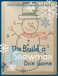 The Build a Snowman Dice Game-a simple family game to play on Christmas Eve or at a winter party Christmas Eve Games, School Christmas Party, Holiday Party Games, Kids Party Games, Birthday Party Games, A Christmas Story, Christmas Fun, Holiday Fun, Xmas Games
