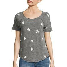 Splendid Ashbury Star-Print Tee ($82) ❤ liked on Polyvore featuring tops, t-shirts, apparel & accessories, raglan sleeve t shirts, curved hem t shirt, star print t shirt, star tee and raglan top