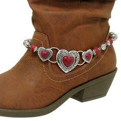 Boot Bracelets And Or Straps | Filigree Heart Western Cowgirl Cowboy Boot Jewelry Anklet Charm Strap ...