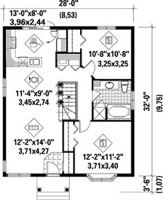 COOL house plans offers a unique variety of professionally designed home plans with floor plans by accredited home designers. Styles include country house plans, colonial, Victorian, European, and ranch. Blueprints for small to luxury home styles. Cottage Style House Plans, Cottage Floor Plans, Bungalow House Plans, Cottage Style Homes, Cottage House Plans, House Floor Plans, Best House Plans, Small House Plans, Small Tiny House
