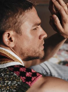 The Sexiest Outtakes from Charlie Hunnam's InStyle Shoot - Pensive Prayer from InStyle.com