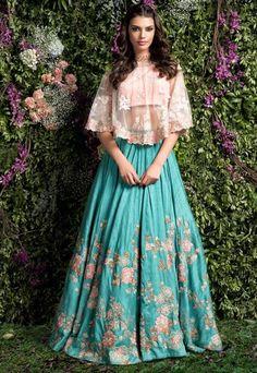 ideas for wedding gowns indian lehenga choli Bridal Lehenga Choli, Indian Lehenga, Indian Gowns, Red Lehenga, Indian Attire, Pakistani Dresses, Anarkali, Cape Lehenga, Floral Lehenga