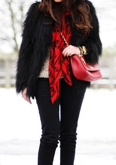 fuzzy coat + red details