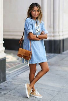 summer outfits - 30 Summer Outfits To Rock This Spring Break: Fashion Blogger 'Sincerely Jules' wearing a short sleeve lace-up shift dress, beige sneakers and a brown shoulder bag