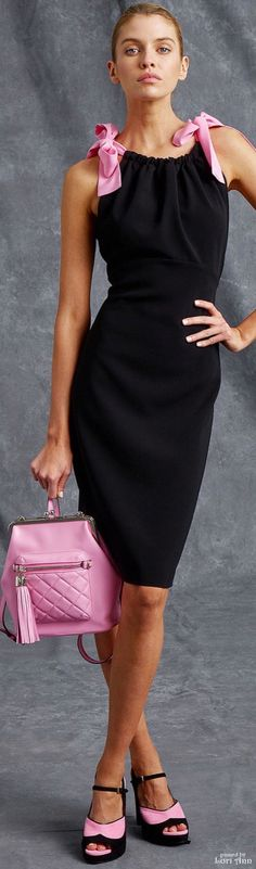 Pink nails black dress