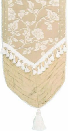 Jennifer Taylor 2612-205206400 Table Runner, 16-Inch by 120-Inch, Cover 45-Percent Polyster and 55-Percent Cotton by Jennifer Taylor. $161.84. With cord, tassel trim and tassels. Home decor brings classic style and luxurious comfort to the home. Table runner cover 45-percent polyster and 55-percent cotton. Jennifer Taylor Table Runner, 16-inch by 120-inch, Cover 45-percent polyster and 55-percent Cotton, with cord, tassel trim and tassels, Classic Style. Save 48% Off!
