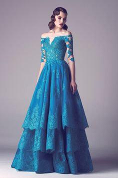 I don't love the style but that COLOR! Peacock blue lace ball gown with tiered skirt // Fadwa Balbaki // Spring/Summer 2015