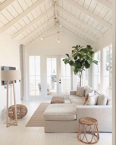 Best Summer Living Room Trends of Best Summer Living Room Trends of 2019 - Decoholic. If you have been looking to have a living room makeover but never got round to doing it, you're just in time to sample the best ideas for revamping the. Living Room Trends, Home Living Room, Living Room Designs, Living Spaces, Living Room White Walls, Apartment Living, Neutral Living Rooms, Living Room Pouf, Beach Living Room