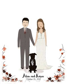 Custom Wedding Portrait-Unique Wedding Gift-Wedding Gift For Bride-Wedding Illustration-Gift For Couple-Personalized Gift-Wedding Present