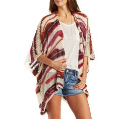 Charlotte Russe Berry Combo Open Stitch Slouchy Cardigan Sweater by... ($35) ❤ liked on Polyvore featuring tops, cardigans, berry combo, open knit cardigan, stripe cardigan, multi color cardigan, ruffle cardigan and oversized open knit cardigan