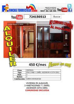 724150513 450 €/mes 3 habitaciones 1 baño centro Miranda. http://www.youtube.com/watch?v=Bgq3b5kE7CA