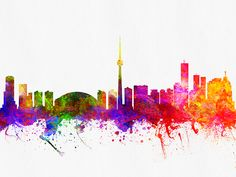 Colorful Digital abstract drawing of Toronto, Ontario skyline. Canvas Art, Canvas Prints, Framed Prints, Toronto Skyline, Abstract Drawings, Beauty Art, Wood Print, Ontario, Arts And Crafts