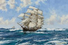 The New York Clipper Ship Prima Donna Artwork by Montague Dawson Hand-painted and Art Prints on canvas for sale,you can custom the size and frame